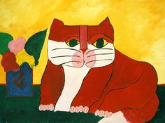 Red cat and vase with flowers / Aldemir Martins