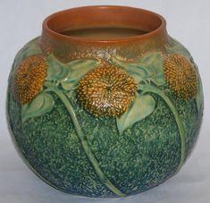 Roseville Pottery Sunflower Vase 489-7 from Just Art Pottery