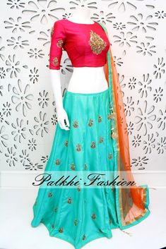 PalkhiFashion Exclusive Full flair Turquoise Designe Lehenga with Hand Worked Blouse and Duppata Choli Designs, Lehenga Designs, Blouse Designs, Ethnic Outfits, Indian Outfits, Indian Designer Outfits, Designer Dresses, Indian Designers, Designer Clothing