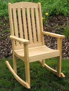 """Creekvine Designs™ Treated Pine Highback Rocker  Item # X2067  • 450-lb. stationary weight capacity* • pressure-treated wood protects against termite damage and fungal decay • commercial-grade stainless steel screws • seat: 22¾""""w x 18""""d; seat height (from ground): 19½"""" • assembly required Made in USA.  Ships directly from manufacturer. See below for delivery times.  $299.95"""