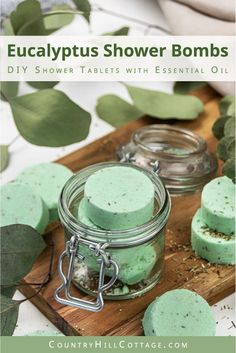 See how to make and how to use easy DIY eucalyptus shower bombs! This simple relaxing homemade essential oil shower melts recipe is natural shower aromatherapy for colds, for congestion, sinus, headache and stress relief. The decongestant eucalyptus shower tablets are made with baking soda, cornstarch and clay to be long lasting. Like Vicks vapor rub shower disks Suitable for kids and men, great Christmas gift! #showermelts #showersteamers #showerbombs #showertablets | countryhillcottage.com Bath Bomb Recipes, Soap Recipes, Diy Cosmetic, Diy Peeling, Eucalyptus Shower, Natural Showers, Shower Steamers, Bath Melts, Diy Shower