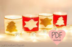 Christmas crochet pattern Mason jar cover Mason jar cozy Tapestry crochet PDF. LeafsCreations.