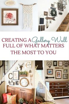 The great thing about a gallery wall collage is that there isn't a real order to where the pieces are hung. No need fora perfect line, layout or spaced a certain number of inches apart and what's not to love about the freedom in that.  Check out loads of ideas and tips from farmhouse rustic style to eclectic to boho.  DIY for the living room, bedroom, foyer, hall, staircase, kitchen, dorm, and more. Above couch, inspiration too.