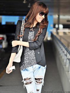 Women Black Puff  3/4Long Sleeve Two Buttons Flare Hem Slim Cotton Suit S/M/L@A5001b