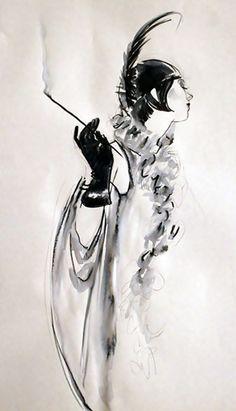 illustration. ink. smoking. feather. furs. art deco. jazz age.