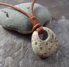 Scottish Sea Pebble  Necklace Unisex Surfers by byNaturesDesign, $16.00