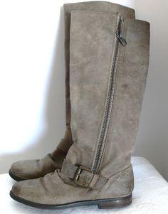 Steve Madden Tall Leather P-Lakke Leather Boots Sz 8.5 M Side Zip  #SteveMadden #KneeHighBoots #Casual
