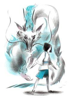 Studio Ghibli World Spirited Away - Haku Studio Ghibli Art, Studio Ghibli Movies, Anime Ai, Anime Manga, Hayao Miyazaki, Le Vent Se Leve, Hotarubi No Mori, Art Nouveau, Natsume Yuujinchou