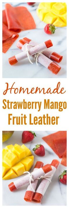 How to make Homemade Strawberry Mango Fruit Leather with just THREE ingredients! Bursting with strawberry and mango flavors, it's perfect for lunch boxes and after school snacks! | http://www.wellplated.com