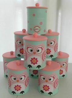 como reciclar latas de leche para bebe Coffee Can Crafts, Tin Can Crafts, Owl Crafts, Metal Crafts, Recycled Crafts, Crafts To Make, Arts And Crafts, Mason Jar Crafts, Bottle Crafts