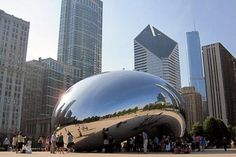 "Cloud Gate (nicknamed ""the Bean"") is the Anish Kapoor sculpture in Chicago's Millennium Park."