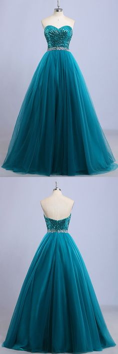 Ball Gown Prom Dresses Long, Blue Party Dresses Princess, Sweetheart Formal Dresses Tulle, Sequined Evening Gowns Beading
