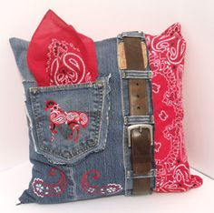 Country pillow                           Bandana/denim pillow= fun!