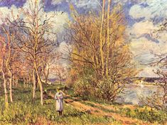 """Impressionism is a modern art movement of the late century. In Claude Monet featured his painting """"Impression: Sunrise"""" at a salon in Paris. Eye Painting, Spring Painting, Figure Painting, Spring Art, Pierre Auguste Renoir, Claude Monet, Cool Landscapes, Landscape Paintings, Oil Paintings"""