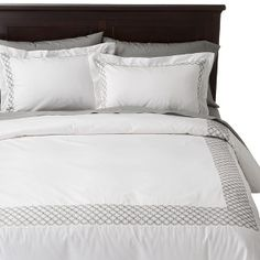 Fieldcrest® Luxury Embroidered Hotel Duvet Cover Set - White/Silver click image to zoom