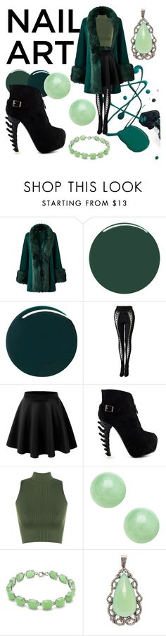 """""""NAIL ART : green"""" by a-battle-starling ❤ liked on Polyvore featuring Smith & Cult, RGB, Versace, LE3NO, WearAll and Karma Jewels"""