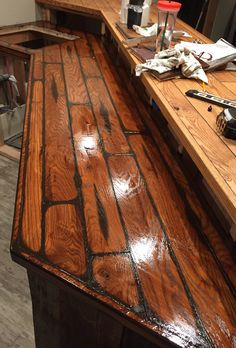 Oak Bar Top Stain Over Glaze