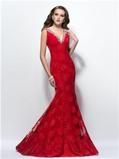 Elegant Backless Mermaid V Neck Beading Sweep Train Lace Evening Dress Designed Independently & colorful Designer Dresses