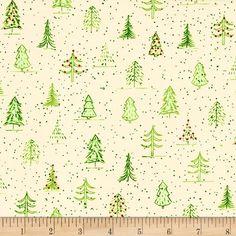 Naughty Or Nice? Christmas Trees Ecru/Light Green from @fabricdotcom  Designed by Ink & Arrow Fabrics…