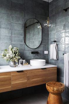 Bathroom Decor master Decor wall Is Our Decor In A Tile Rut studioblackinteriors-smokey-aqua-block-bathroom-wall-tile Modern Bathroom Lighting, Modern Bathroom Design, Bath Design, Bathroom Interior Design, Bathroom Designs, Modern Design, Minimal Bathroom, Toilet Design, Simple Bathroom