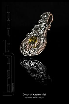 Drops of Avalon Mist - Citrine, copper and sterling silver wire wrapped Lonely Soldier Designs Pendant