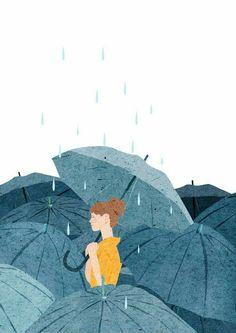 Fondo de pantalla lluvia mujer con paraguas Wallpaper rain woman with umbrella Art And Illustration, Art Illustrations, Kunst Inspo, Art Inspo, Anime Kunst, Anime Art, Cover Wattpad, Art Plastique, Aesthetic Art