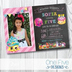 Shopkins Birthday Invitation with Photo - Printable (5x7) by One Five Designs