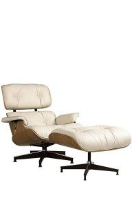 white leather and wood lazy boy chair with foot rest - Lazy Boy?  Really?  Wonder where they got the idea?