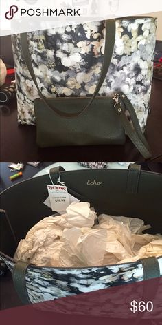 Echo New York purse Super cute greenish/grey color flower print purse. Rich textured purse with side arm clutch bag. Wide open space inside, no pockets. Great for summer! Great condition! Echo Bags Satchels