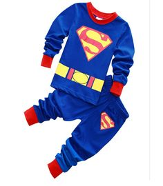 BABY CLOTHING SET SUPERMAN KIDS BOY CARTOON HOMEWEAR CLOTHES SET SLEEPWEAR PAJAMAS SETS OUTFIT HOT SALE In stock - $3.20