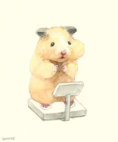 Cute Animal Drawings, Cute Drawings, Japanese Hamster, Hamster Live, Dibujos Zentangle Art, Baby Animals, Cute Animals, Cute Hamsters, Japanese Artists