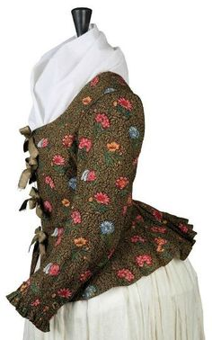 Jacket: 1790's, French, printed cotton with ruffled peplum and cuffs.