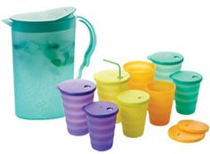 """A wonderful customer pinned these! These are the best cups for """"older"""" children who are to big for a sippy cup, but not trustworthy with a lidless cup. :)Tupperware Impressions 16 oz tumblers with drip-less straw seals: perfect next step after sippy cups."""