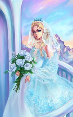 Elsa in a wedding dress.... I ship her with Jack Frost, but I also like her single idk