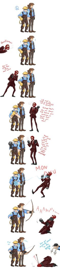 that Spy is a douche by MMtheMayo on DeviantArt Tf2 Funny, Funny Comics, Valve Games, Team Fortress 2 Medic, Tf2 Memes, Team Fortess 2, Stupid Memes, Funny Games, Anime Comics