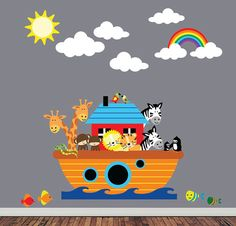 Noahs Ark Wall Decal REUSABLE Childrens Nursery by StudioWallArt, $146.00 (for bathroom)
