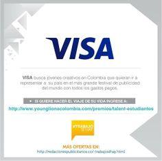 #TrabajoSíHay para los que apenas inician en la publicidad. Visa busca una dupla de estudiantes para enviarlos al mundial de la publicidad.  Más información en: http://younglionscolombia.com/premios/talent-estudiantes