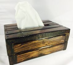 Handcrafted Log Cabin Tissue Box Cover  This decorative piece is hand cut and crafted, and a perfect set to add to your home décor collection!
