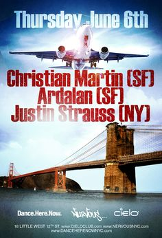 Thursday, June 6 Robpromotions & Benny Soto in association with Nervous Records present Dance.Here.Now.   CHRISTIAN MARTIN Ardalan, Justin Strauss Free before 12 midnight + 1 hour open vodka bar with RSVP here: http://www.robpromotions.com/list/cielo060613.html   Get Tickets https://www.clubtickets.com/us/2013-06/06/christian-martin-at-cielo  Cielo 18 Little W.12th Street NYC Doors open 10pm www.cieloclub.com