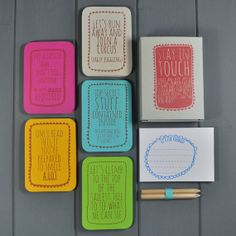 Stay in Touch Correspondence Kit by wearebreadandjam: totally wonderful, they fold out to be large pieces of blank paper you can draw or write on.