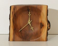 Applewood Shelf Clock with Bark Edge by WoodArtForLiving on Etsy, $85.00 This natural edge wood clock can go on a shelf or a desk.