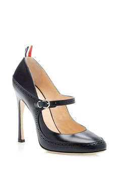 Leather Mary Jane Spectator Pumps by Thom Browne - Moda Operandi