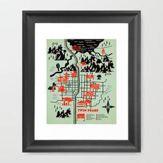 Twin Peaks Map Framed Art Print by Robert Farkas - $40.00