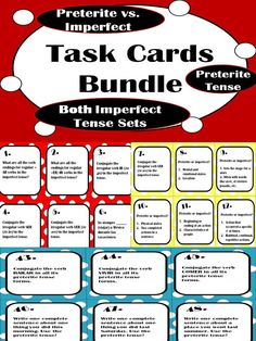Buy 3 sets of 48 versatile and engaging Spanish #preterite and #imperfect task cards, get 1 FREE! Great way to get your students interacting with the preterite tense, the imperfect tense, and the differences between!