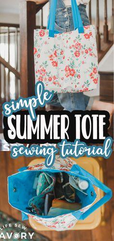 Sewing Tutorials, Bag Tutorials, Summer Tote Bags, Tote Tutorial, Gift Bags, Free Pattern, Pdf, Handbags, Patterns