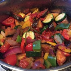 Making Ratatouille #ratatouille #peppers #courgettes #aubergines #tomatoes #garlic #onion #healthy #healthyeating #homecooking #dinnerwinner #dinner #colour #colourful #vegetables #vegetarian #vegan #vegetarianfood #veganfood by kate_e_fitzgerald