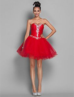 A-line Princess Short/Mini Organza And Tulle Coktail Dress (... – USD $ 89.69 65% off