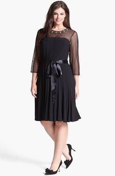 bee788f9485c Xscape Embellished Illusion Yoke Jersey Fit  amp  Flare Dress (Plus Size)  available at