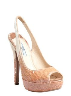pale pink and ivory sequined slingback peep toe pumps