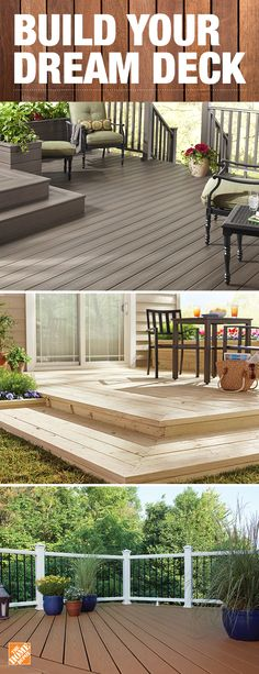 Start planning the deck of your dreams by choosing the right decking material. Composite decking provides the beauty of wood without the concerns of splintering, rotting or weather damage. Wood is a popular choice that's natural, durable and affordable. Click to explore decking materials at The Home Depot.